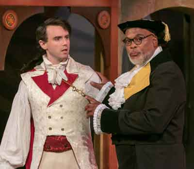 """The Servant of Two Masters"" at The Shakespeare Theatre of New Jersey. Pictured are Russell Sperberg as Silvio and Raphael Nash Thompson as Dottore Lombardi. Photo by Jerry Dalia."