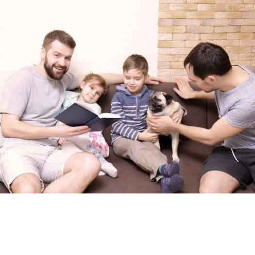 Same-sex male couple and family