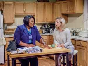 """Stori Ayers as Sophie and Ariel Woodiwiss as Leslie in the Premiere Stages production of """"Foster Mom"""""""