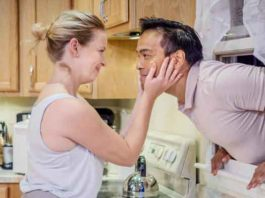 "Ariel Woodiwiss as Leslie and Kurt Uy as Josh in the Premiere Stages production of ""Foster Mom.: Photo by Mike Peters"