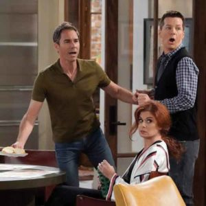 "Eric McCormack, Debra Messing and Sean Hayes in a scene from the season 9 reboot of ""Will & Grace."""