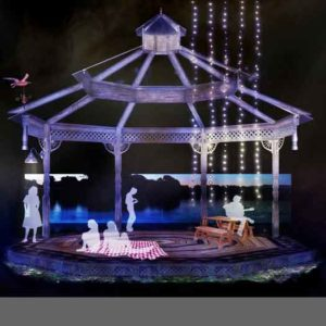 "The pond set of ""Songbird"" at Two River Theatre in Red Bank, NJ"