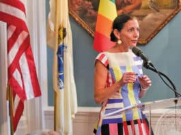 Tammy Murphy at LGBT reception at the NJ Governor's residence in 2018.