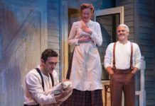 """The Immigrant"" at George Street Playhouse with Benjamin Pelteson, Gretchen Hall and R. Ward Duffy. Photo by T. Charles Erickson."
