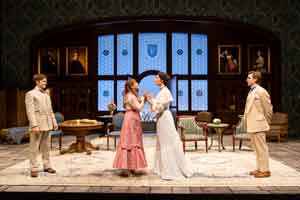 Sam Lilja (Algernon Moncrieff), Liesel Allen Yeager (Cecily Cardew), Rosa Gilmore (Gwendolen Fairfax) and Federico Rodriguez (John Worthing) on stage at Two River Theatre in Red Bank