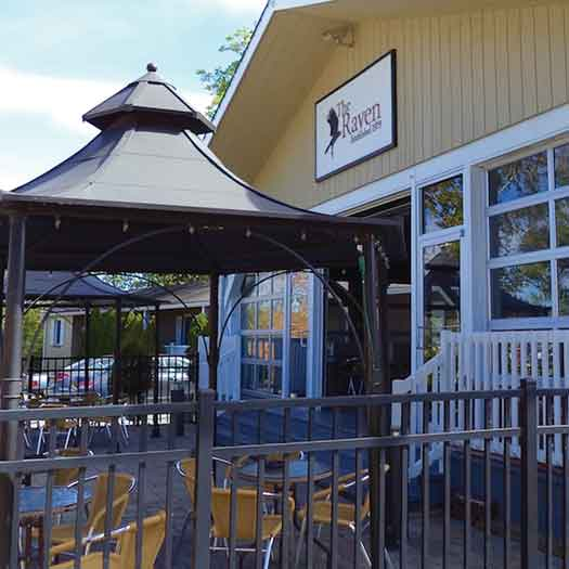 Outdoor seating at the Raven bar, restaurant and resort in New Hope, PA