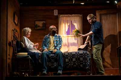 "Brenda Wehle (Margaret), Jon-Michael Reese (Abe) and Zachary Booth (Theo) in the world premiere of ""Theo"" at Two River Theater in Red Bank."