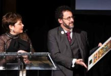 Tony Kushner receives the Activism Jewish Culture Award at The Workmens Circle Winter Benefit. Photos by Alina Oswald.