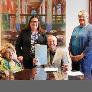 (left to right) Babs Siperstein, Jennifer Long, Gov. Phil Murphy, & Brenda Fulton at the Transgender bill signing