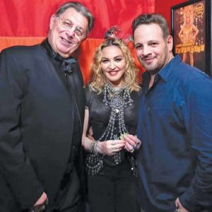 Stonewall Inn bartender Fred E. Tree Sequoia with Madonna and Stonewall manager Mike Salinari