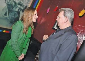 Stonewall Inn bartender Fred E. Tree Sequoia with Chelsea Clinton on the left