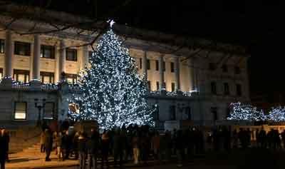 Trenton's Christmas tree and Menorah lighting ceremony at City Hall.  Photo by Cora Berke.