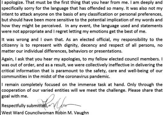 Trenton Councilwoman Robin Vaugn apologized for her comments