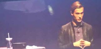 Tyler Henry on stage at Bergen PAC in Englewood, NJ