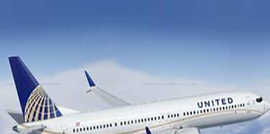 United Airlines plane flying