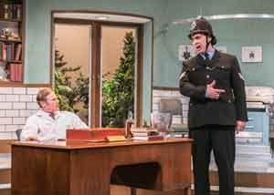 """What the Butler Saw""is showing at the Shakespeare Theatre of NJ. Pictured is Peter Simon Hilton as Dr. Prentice and Jeffrey M. Bender as Sergeant Match. Photo by Jerry Dalia"