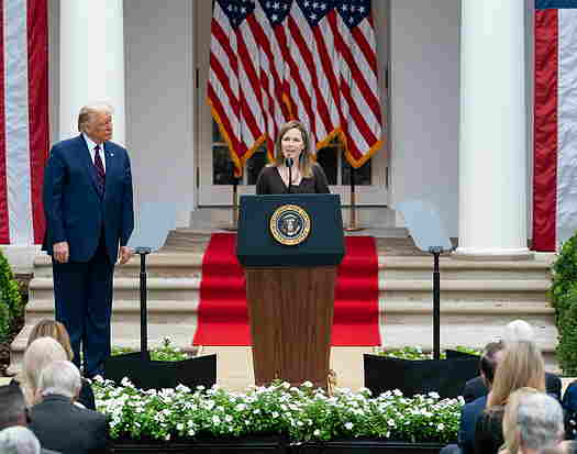 Amy Coney Barrett at Rose Garden event with President Donald Trump