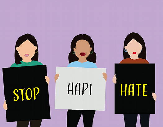 Three Asian character images holding signs that say Stop AAPI Hate