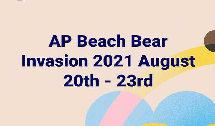 text flyer says Asbury Park Beach Bear Invasion 2021