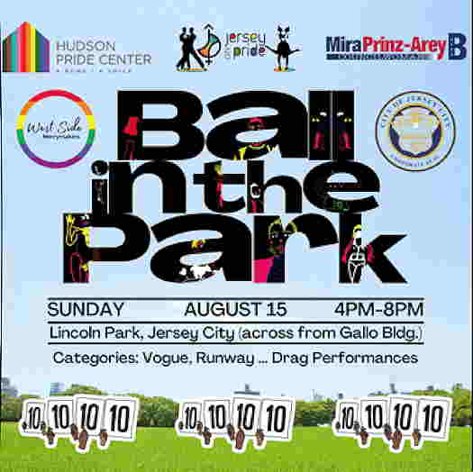 Ball In The Park logo with a light blue background and trees on the lower half.