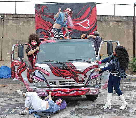 The Bearded Ladies cleaning the truck