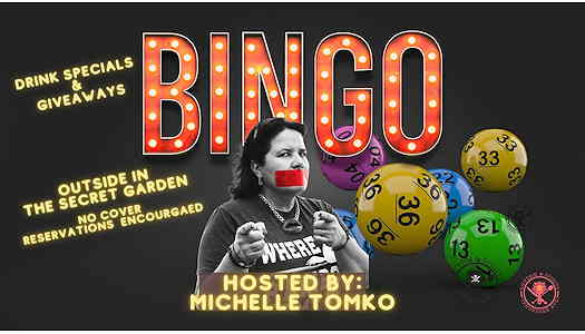 Michelle Tomko with the word BIMGO behind her