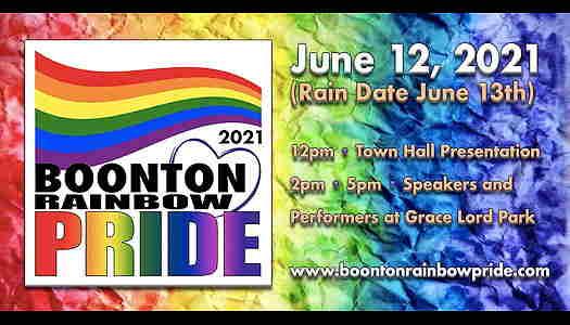 Boonton Rainbow Pride 2021 event flyer