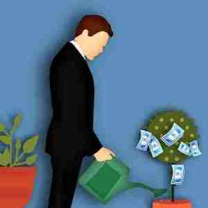 Man watering a plant to grow money