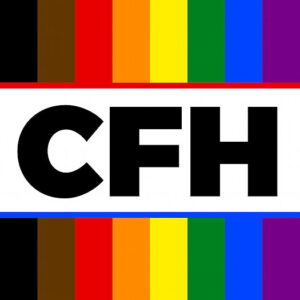 Clothes For Humans logo, Rainbow background with CFH text