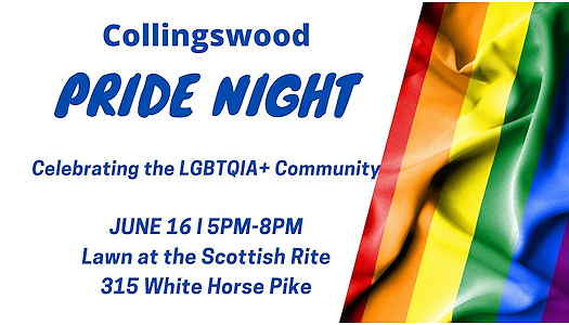Collingswood Pride Night flyer with event info and a rainbow flag on the right side