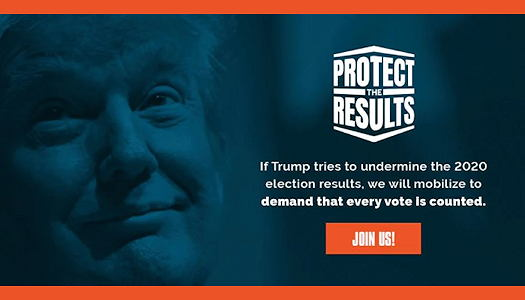 Protect the Results logo with Trump picture in the background
