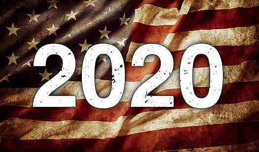 A worn USA flag with 2020 over it