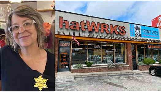 Gigi Gaskins wearing Jewish star that say Not Vaccinated