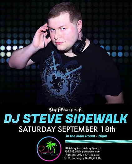 DJ Steve Sidewalk on flyer with background and event text
