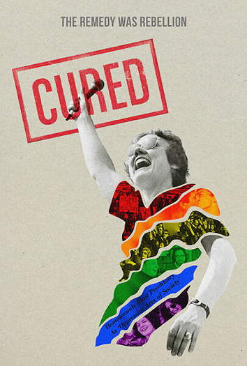 Person in black and white with an illustrated rainbow t-shirt with the title Cured in the upper left