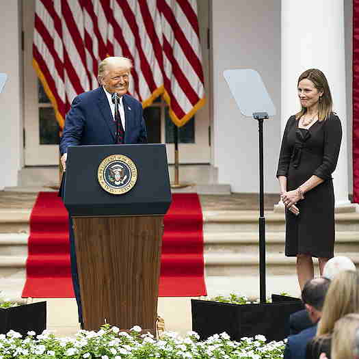 Donald Trump with Amy Coney Barrett at the White House garden