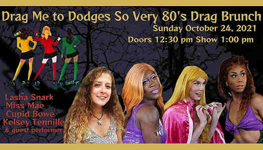 Four drag queens over a halloween background