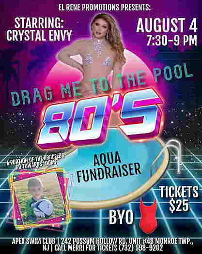 Drag Me To The Pool: 80's event flyer with Crystal Envy on the cover