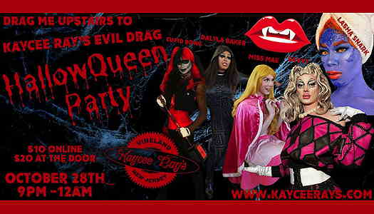 Dark background with dripping text and the five drag queens on the left of the flyer