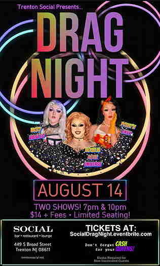 Drag Night event flyer with three drag queens inside a pink and yellow circle