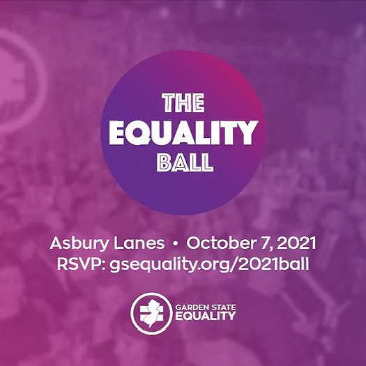 Equality Ball logo on a purple and pink background