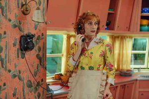 Fairytale main character on the phone in the kitchen