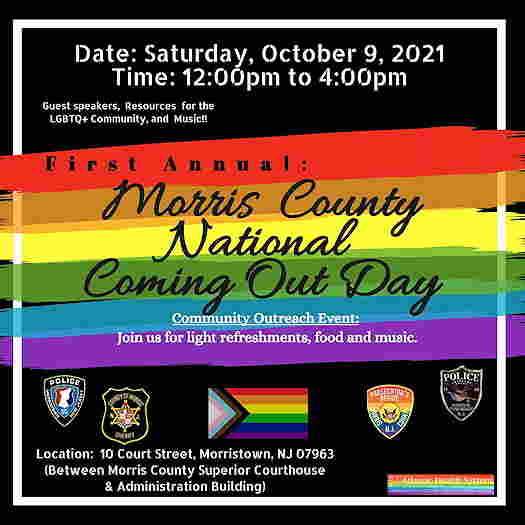 First Annual Morris County Coming Out Day textual event flyer