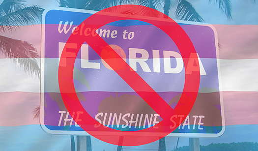 Welcome to Florida sign with a transparent Transgender pride flag over it and a no symbol over them both
