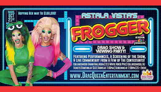 Astala Vista (drag queen) dressed like a frog with eye in her green wig