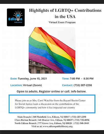 Highlights of LGBTQ+ Contributions in the USA event flyer with a rainbow flag