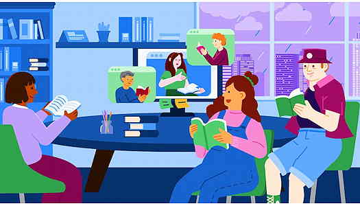 Illustration of three people sitting at a round table reading with a computer showing people reading virtually