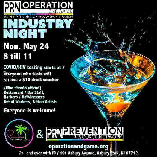 Industry Night at Paradise Nightclub flyer with a martini glass in the background