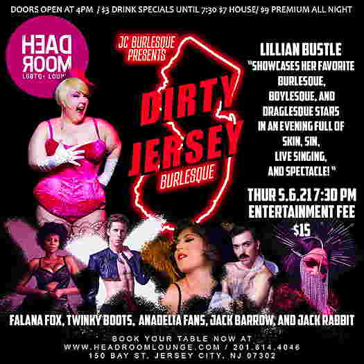 JC Burlesque Presents: Dirty Jersey Burlesque flyer with all the performers pictures
