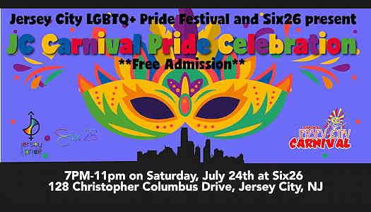 Jersey City Carnival Pride Celebration flyer with a carnival mask